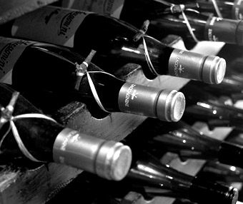Wine bottles in restaurant rack